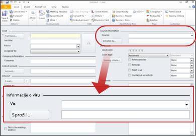 Posnetek zaslona, ki prikazuje odsek podatki o viru zapisa