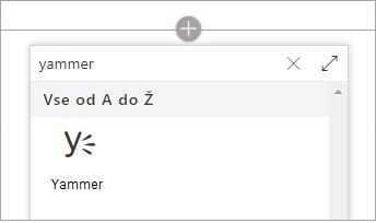 Spletni gradnik seznam, ki prikazuje samo označi Yammer spletnega gradnika