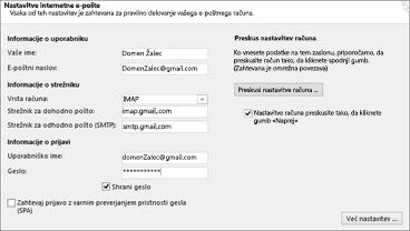 Vnesite nastavitve strežnika za Gmail