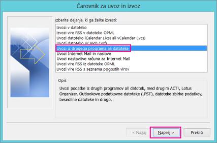 Izberite »Uvozi iz drugega programa ali datoteke«.