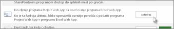 Dovoljenje programa Project Web App za osveževanje programa Excel Web App