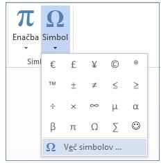 V meniju »Simbol« kliknite »Več simbolov«.