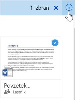 Posnetek zaslona, ki prikazuje izbiranje elementa in klik ikone za informacije