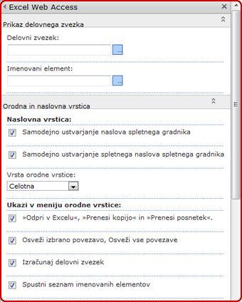 Izberite in vnesite lastnosti v podokno z orodji za spletni gradnik programa Excel Web Access.