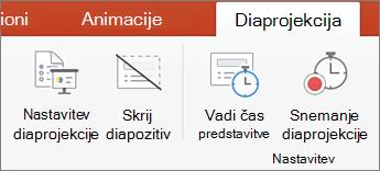 Kliknite zavihek Diaprojekcija