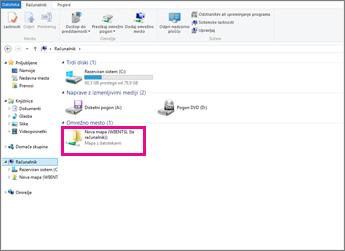 V Internet Explorerju poiščite omrežno mesto.
