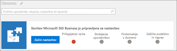 Posnetek zaslona čarovnika za nastavitev zbirke Business Cloud Suite.