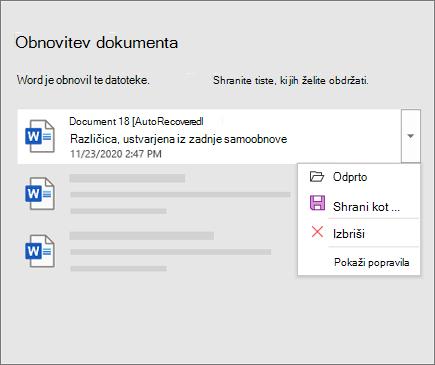 Samodejno izterjana datoteka, navedena v podoknu za obnovitev dokumenta