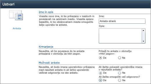 Stran z možnostmi ankete v programu SharePoint 2010