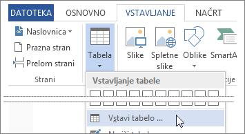 Vstavi tabelo