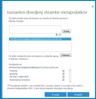 Slika pogovornega okna »Nastavitev dovoljenj shrambe metapodatkov« v storitvah za poslovno povezanost v SharePoint Onlineu.