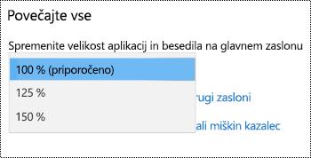 Strani z nastavitvami prikaza lupine Windows v razdelku nastavitev središča za dostopnost, ki prikazuje, da vse, kar je večji možnost s spustnega menija razširjen.