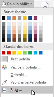 Posnetek zaslona možnosti polnila oblike na zavihku »Oblika« v Publisherju.