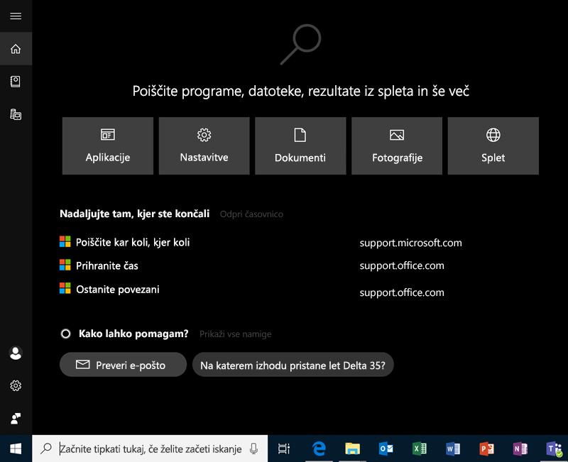 Iskanje v sistemu Windows 10