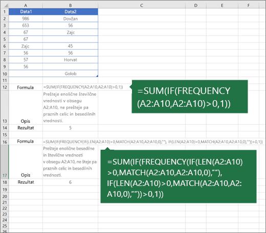 Primeri ugnezdenih funkcij za štetje števila enoličnih vrednosti med podvojenimi vrednostmi