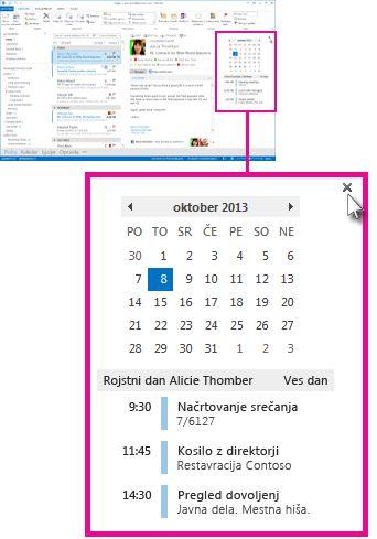 Ukaz »Odstrani povzetek« na pripetem povzetku koledarja