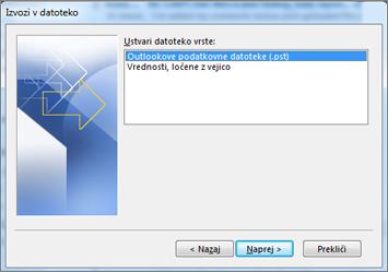 Izvoz v podatkovno datoteko