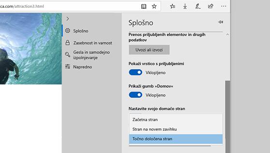 Nastavitev domače strani v brskalniku Microsoft Edge