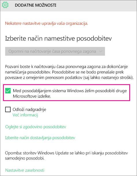 »Dodatne možnosti« storitve Windows Update