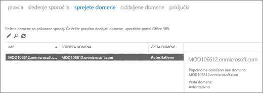 Posnetek zaslona, kjer je prikazana stran s sprejetimi domenami v Skrbniškem središču za Exchange. Prikazane so informacije o imenu, sprejeti domeni in vrsti domene.