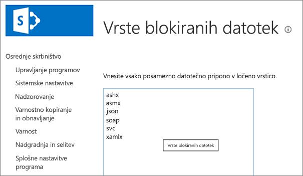 Seznam blokiranih datotek