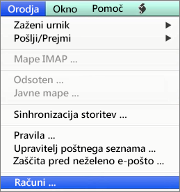 Orodja za Outlook for Mac > Računi