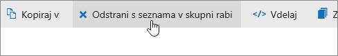 Posnetek zaslona prikazuje gumb za odstranjevanje s seznama v skupni rabo v storitvi OneDrive.com.