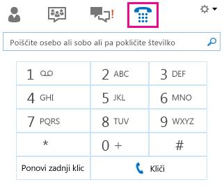 Posnetek zaslona številčnice za klicanje stika