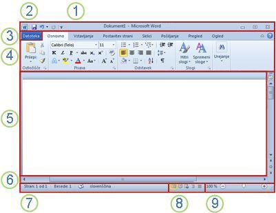 Elementi v oknu programa Word