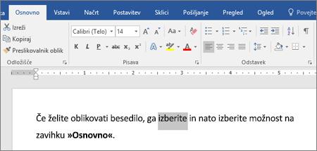 Možnosti za oblikovanje besedila na Wordovem traku