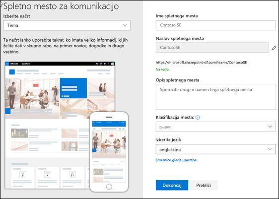 Ustvarjanje SharePointovega spletnega mesta za komunikacijo