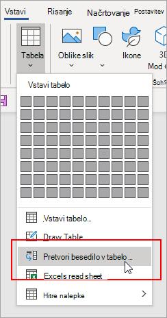 Na zavihku »Vstavljanje« je označena možnost za pretvorbo besedila v tabelo.