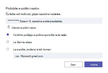 Pridobi e-poštni naslov