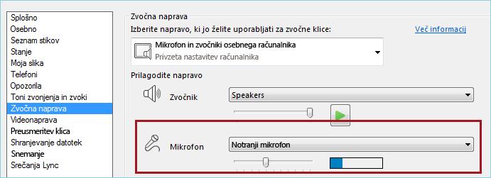 Posnetek zaslona mikrofona za preverjanje zvoka v programu Lync
