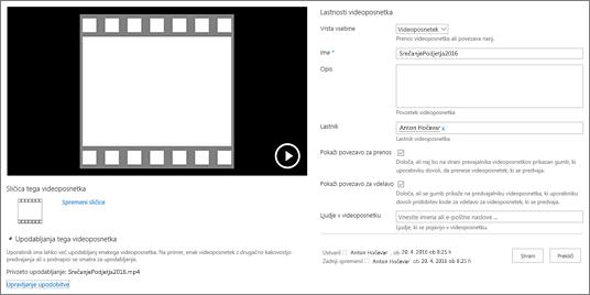Stran z lastnostmi videoposnetka