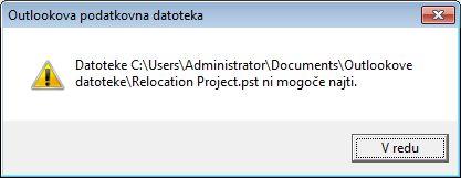 Pogovorno okno s sporočilom o manjkajoči Outlookovi podatkovni datoteki (.pst)