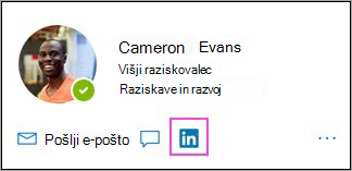 Prikaz ikone LinkedIn na kartici profila
