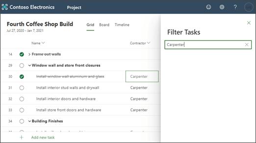 Posnetek zaslona projekta, filtriranega po vsebini stolpca
