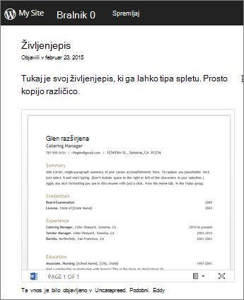 Wordov dokument vdelan v objavo spletnega dnevnika