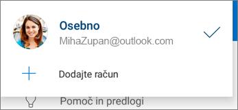 Gumb »Dodaj račun« v aplikaciji OneDrive za Android