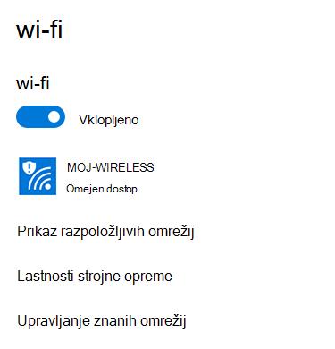 Omrežje ima omejeno povezljivost