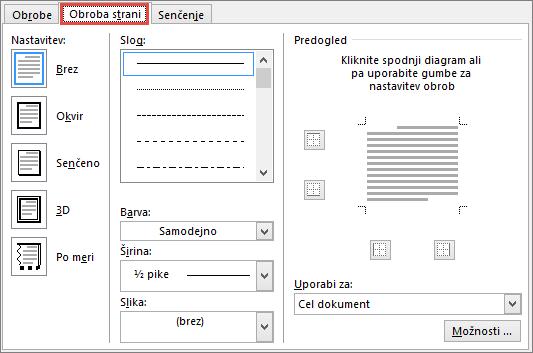 Zavihek »Obroba strani« v pogovornem oknu »Obrobe in senčenje« v programu Word 2010