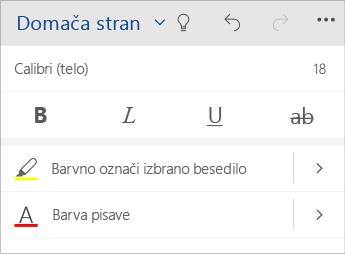 Posnetek zaslona menija za oblikovanje besedila v programu Word Mobile.