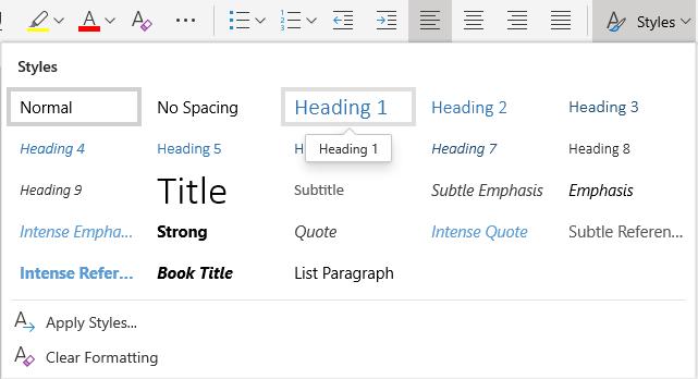 Meni z besedilnimi slogi v programu Word online