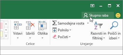 Kazalec, da kliknete ikono za skupno rabo