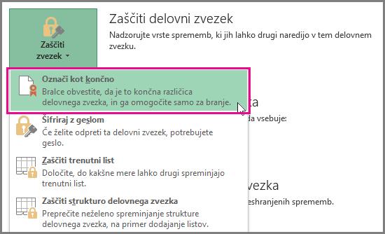 Možnost »Označi kot dokončano« v programu Office 2016 Excel