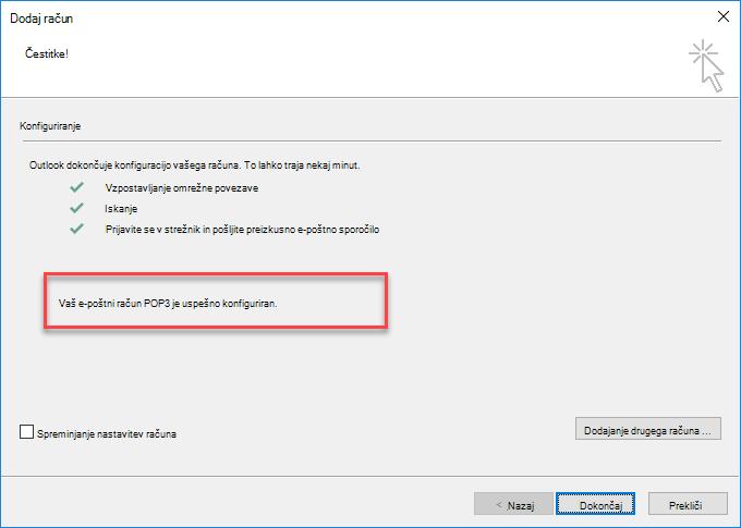 Dodajanje računa kot računa POP v Outlooku