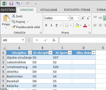 razširjanje tabele v Excelu