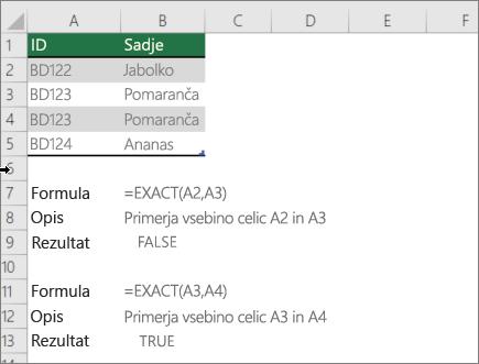 Primer z uporabo NATANČNE funkcije za primerjavo ene celice v drugo