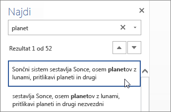 Podokno za iskanje v programu Word Online